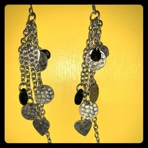 Handmade silver toned heart dangle earrings